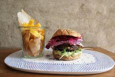 Vegetarian burger with polenta fries
