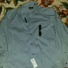 Dress slim fit shirt by Marc Anthony Blue and white stripe. Slim fit stretch dress shirt, with light blue grey buttons Marc Anthony Tops Button Down Shirts