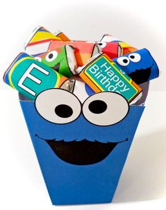 Cookie Monster Sesame Street - PRINTABLE PARTY - Treat Popcorn Box. $7.00 USD, via Etsy.