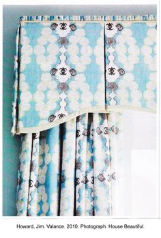 Traditional box pleated valance with scalloped bottom is make in a trendy ikat pattern of turquoise and indigo on white. Ideal for traditional homes in sunny climates.