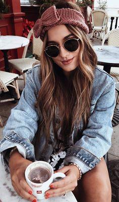 #winter #outfits denim jacket, black white skirt