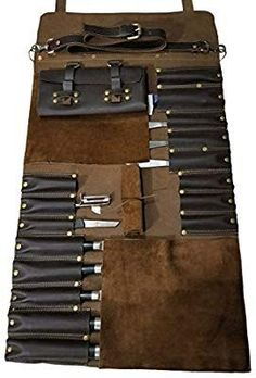 Aug 28, 2019 - Professional Chef Lightweight Genuine Premium Dark Brown Leather Chef Knife Bag/Knife Roll 16 Pockets Space *KB03: Amazon.co.uk: Kitchen & Home
