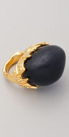 Alexis Bittar Gold Baroque Black Coal Resin Ring thestylecure.com