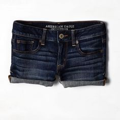 AEO Rolled Denim Shorts ($30) ❤ liked on Polyvore featuring shorts, bottoms, pants, short, cuffed shorts, short jean shorts, short shorts, low rise shorts and frayed jean shorts