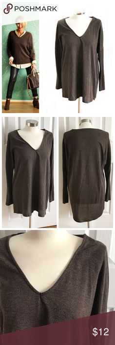 """June & Hudson Brown Vneck Sweater Longsleeve light sweater top, tunic longer in the back. Vneck. General pilling from normal wash and wear. Size medium, a bit of an oversized fit. Length in front 29"""" and length in back 32"""". Could also work for a small as oversized or large as more fitted! Offers welcome. June & Hudson Tops"""