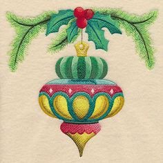 Machine Embroidery Designs at Embroidery Library! - New This Week Embroidered Quilts, Embroidery Monogram, Machine Embroidery Applique, Free Machine Embroidery Designs, Hand Embroidery Patterns, Antique Christmas Ornaments, Christmas Images, Christmas Art, Ornaments Design