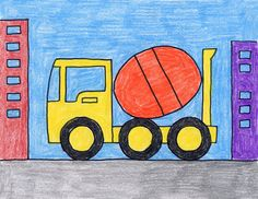Draw a Cement Truck · Art Projects for Kids Drawing Classes For Kids, Basic Drawing For Kids, Easy Drawings For Kids, Colorful Drawings, Fall Art Projects, Projects For Kids, Painting For Kids, Art For Kids, Kids Work