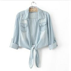 New 2014 summer woman brand jean turn-down collar high street shirts Europe supernova female denim sashes blue cotton blouse