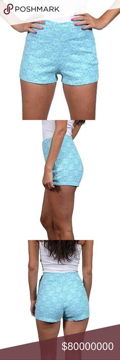 🆕 (XS) High Waisted Floral Lace Shorts Side zip and button.  Denim- like feel.  *Color: Blue *Condition: New with tags *Size: XS *Material: 50% cotton 45% polyester 5% elastane *Waist Size: 24 inches *Length: 11 inches long *Inseam: a little under 2 inches long.   ♥ I am from a smoke free home.  ♥ I have cats and a dog. I always make sure my clothing is fur free, but sometimes there could be a stray hair or two left. Shorts