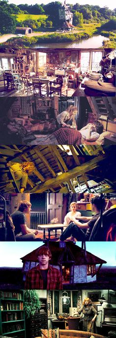 Notice how it's different in the sixth picture. This is after the Death Eaters set the burrow on fire and it was rebuilt. This never actually happened in the book.