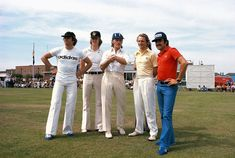 Jochen Mass, Ronnie Peterson, Niki Lauda and Clay Regazzoni at a cricket match held in 1974 in a village near Brands Hatch.