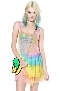 UNIF BAIT DRESS ☠ Neon tie-dye mesh and has a deep scoop neck, drop waist, and tiered ruffle detail at the skirt. Wear it with a bodysuit or carefully-selected skivvies, or as a cover up over your bikini! UNIF\ NWT/ SOLD OUT UNIF Dresses Unif, Mesh Dress, Nasty Gal, Passion For Fashion, Tie Dye, Womens Fashion, Outfits, Clothes, Dresses
