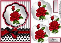 Romantic Red Rose Petal Pyramid Card on Craftsuprint - Add To Basket!