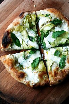 The Zucchini Anchovy — a favorite summer pizza! In this pizza, the summer squash melts into the creamy burrata. The anchovy flavor is subtle — don't skip it — but so nice. Fresh basil finishes it off. Such a great one for summer! Pizza Flavors, Pizza Recipes, Cooking Recipes, Healthy Recipes, Burrata Pizza, Squash Pizza, Zucchini Pizzas, Gourmet, Vegetarian Food