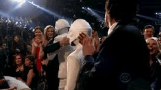 greenleatherjacket:  dailydot:  Robot love—Daft Punk wins album of the year  I love how Guy stands there waiting for Thomas as he finishes his quick polite hug and then they just jump into each other. Look how emotional they are, especially Thomas as Guy supports him. God their friendship is like, incomprehensible levels.