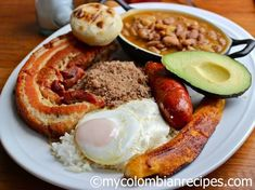 """Bandeja Paisa is probably the most popular Colombian dish, originally from the Andean region of the country where the people are called """"Paisas"""" and the area Colombian Dishes, My Colombian Recipes, Colombian Cuisine, Biscotti, Nutella, National Dish, Mexican Food Recipes, Ethnic Recipes, Fried Pork"""