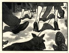 It's a Small World by Leo Meissner wood engraving, x 22 cm, The American Museum in Britain. Stencil Painting, Painting & Drawing, Butterflies And Hurricanes, Linocut Prints, Art Prints, Scratchboard, Black White Art, Dog Paintings, Wood Engraving