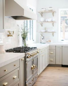 If you're considering the range of putty paint colors for kitchen cabinets, walls, decor, and furniture, you'll love these inspiring ideas! Light Gray Cabinets, Kitchen Design, Kitchen Decor, Kitchen Ideas, Kitchen Paint Colors, House Windows, Beautiful Kitchens, Kitchen Lighting, Home Furnishings