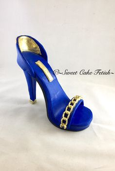 Gumpaste High Heel Shoe/ Cake Topper/Royal Blue and gold shoe topper//Fashion cake topper by SweetCakeFetish on Etsy