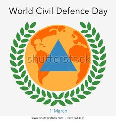 World Civil Defence Day. Flat vector stock illustration.