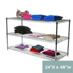 """24""""d Wire Shelving Racks, Three Levels of Storage 48x24s34H - $142 - for wall along self-wash room"""