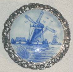 Vintage Silver & Porcelain BROOCH Signed Royal Goedewaagen c.1950s Delfts L799j