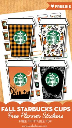 Free Printable Fall Starbucks Cups Planner Stickers: decorate your planner or bullet journal with cute Starbucks cups decorated with fall colors and patterns. 62 stickers included in different sizes to fit all your needs! To Do Planner, Free Planner, Happy Planner, Planner Ideas, Planner Dividers, Study Planner, Starbucks Tassen, Cup Decorating, Planner Decorating