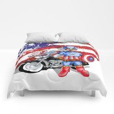 funny cute Big Eye Boy with superhero gear COMFORTERS #comforters #bedroom #room #home #homedecor #captainamerica #bigeye #boy #motorcycle #superhero #americanflag