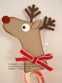 "By Amanda Mertz. Reindeer from Stampin' Up ""Holiday Stocking Bigz Die."""