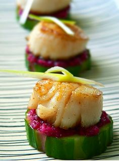 Scallop on Bed of Cucumber