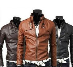 New Men's PU Leather jacket Men Water wash Motorcycle leather jacket outerwear available in 3 color and 4 size . - Detachable Part: None - Hooded: No - Style: Biker Fashion - Type: Slim - Cuff Style: