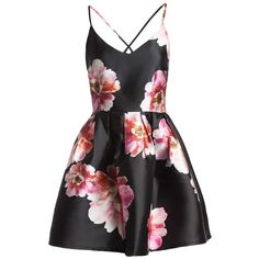 Sans Souci  black abstract floral print flare satin dress (€39) ❤ liked on Polyvore featuring dresses, black, flare dress, flower print dress, criss-cross back dresses, floral dresses and satin dress