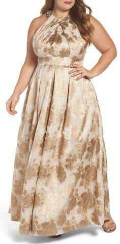 Plus Size Jacquard Ballgown - Plus Size Party Dress #plussize