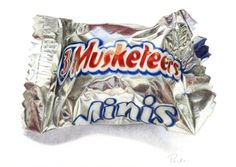 3 Musketeers Mini - PRINT of a Colored Pencil Drawing - Realism - Shiny Silver Wrapper - Candy Art