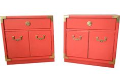 Coral Campaign Chests, Pair on OneKingsLane.com Thomasville - recently painted $445 - SOLD
