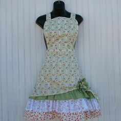 Womans Floral Stripe Apron with Lace and by KozyKitchens on Etsy