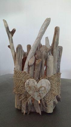 photophore bois flotté - toile de jute - cœur bois