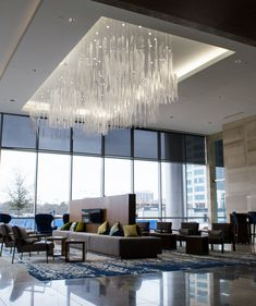 Boundless project by Wimberley Glassworks Western Restaurant, Chinese Restaurant, Custom Lighting, Lighting Design, Luxury Chandelier, Chandeliers, Light Art Installation, Commercial Office Space, Office Space Design