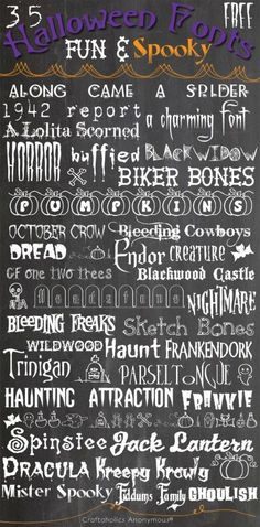 here are the fonts for some halloween crafts! DIY, art, anything with these ideas.