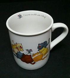 VINTAGE 1985 HALLMARK COFFEE TEA MUG CUP Cats Rim Shots I sure could use a hug.