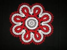 red and white Bruges lace doily.  Beautiful.