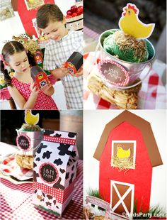 Bird's Party Blog: My Kids' Birthday Party: A Joint Barnyard Birthday! -- love the favour containers