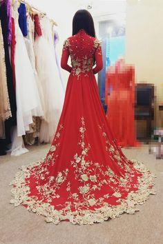 Áo dài cưới đỏ đính ren vàng đồng lộng lẫy cho cô dâu - Áo dài cưới