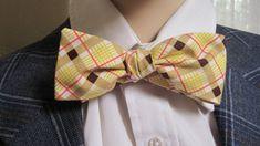 Mr Skinny Yellow Plaid Bow Tie