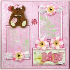 New Baby Girl Scrapbook Layouts | 12 X 12 Premade Scrapbook Pages Baby GIrl by SyrenasScrapArt