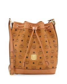 MCM Heritage Visetos Drawstring Bag, Cognac