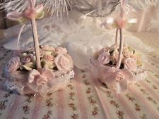 shabby victorian hp pink lil rose filled lace wicker basket christmas ornaments