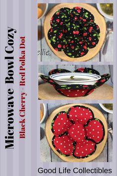 Cherry Casserole Cozy Bowl Holders Microwave Pot Holders Red Cherries Microwave Bowl Cozy Large Cozy Medium Bowl Cozy Fruit