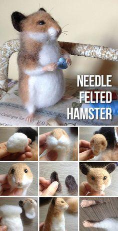 Needle felting tutorial: cute hamster / Making a felted toy . - Needle felting tutorial: cute hamster / Make a felted toy in the shape of a cute hamster - Needle Felted Cat, Needle Felting Kits, Needle Felting Tutorials, Needle Felted Animals, Wet Felting, Felt Bunny, Felt Cat, Bunny Rabbit, Cute Hamsters