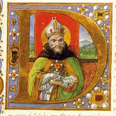 Sant'Agostino vescovo. AMANUENSE FIORENTINO 1498-1502 Biblioteca Laurenziana, Ms. Pluteo 12.1, c. 6r Letter D, Initial Letters, Letters And Numbers, Letter Ornaments, Book Catalogue, Medieval Costume, Illuminated Letters, Agatha Christie, Creepy